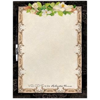 Vintage French Damask Magnolia Floral Blossoms Dry-Erase Boards