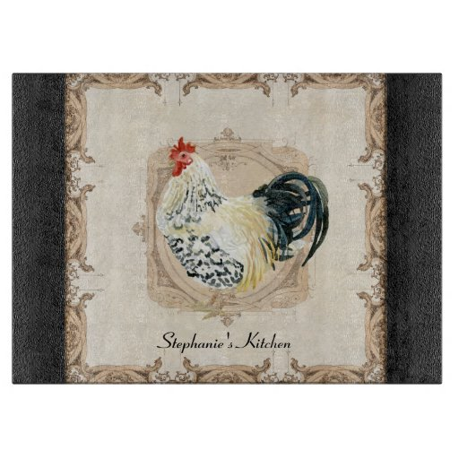 Vintage french damask rooster kitchen home decor cutting for Vintage home decor