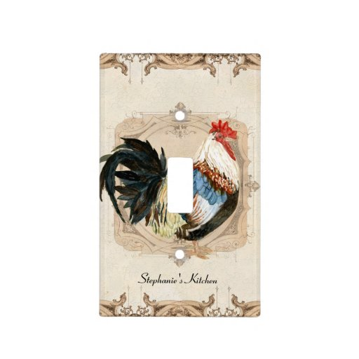 Vintage French Damask Rooster Kitchen Home Decor Switch Plate Covers