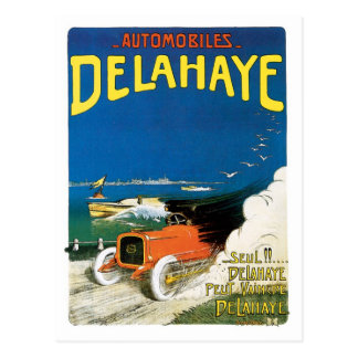 Vintage French Delahaye Racing cars ad Postcard