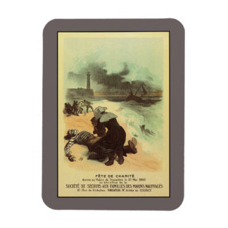 Vintage French drowned sailors charity advertising Rectangular Photo Magnet