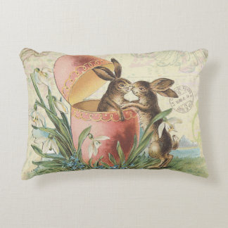Vintage French Easter bunnies Accent Pillow