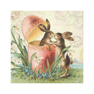 Vintage French Easter bunnies Canvas Print