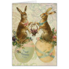 Vintage French Easter bunnies Card