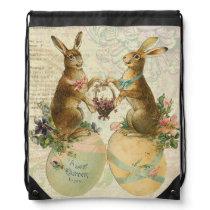 Vintage French Easter bunnies Drawstring Bag