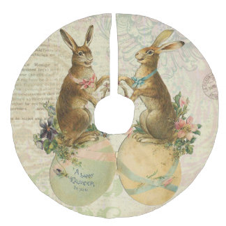 Vintage French Easter bunnies Faux Linen Tree Skirt