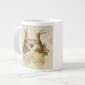 Vintage French Easter bunnies Giant Coffee Mug