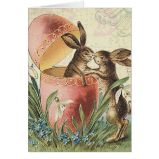 Vintage French Easter bunnies Greeting Card