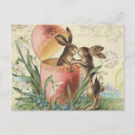 Vintage French Easter bunnies Holiday Postcard