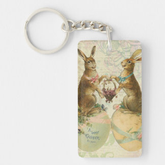 Vintage French Easter bunnies Keychain