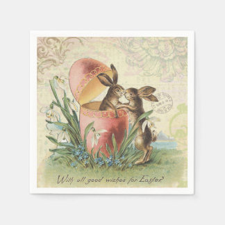 Vintage French Easter bunnies Napkin