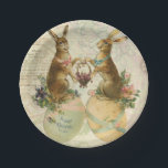 "Vintage French Easter bunnies Paper Plate<br><div class=""desc"">Vintage French Easter bunnies</div>"