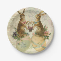 Vintage French Easter bunnies Paper Plate