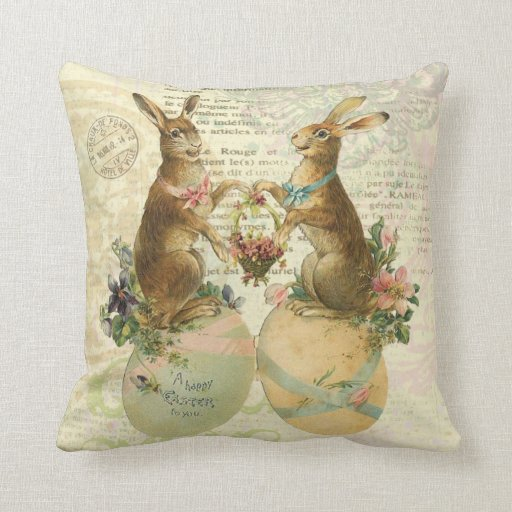 Vintage French Easter Bunnies pillow