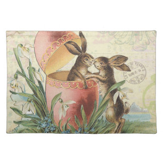Vintage French Easter bunnies Placemat