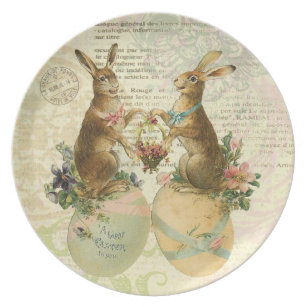 Vintage easter stamps gifts on zazzle vintage french easter bunnies plate negle Images