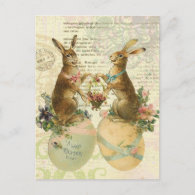 Vintage French Easter Bunnies postcard