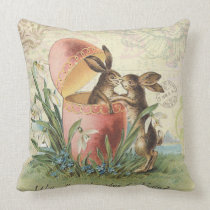 Vintage French Easter bunnies Throw Pillow