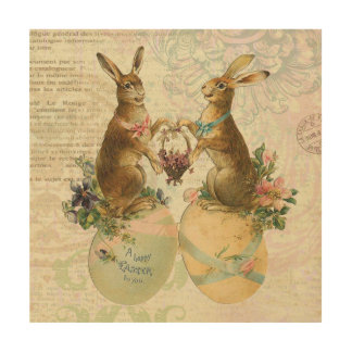 Vintage French Easter bunnies Wood Print
