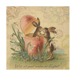 Vintage French Easter bunnies Wood Wall Art