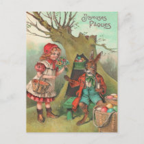 Vintage French Easter Bunny Postcard