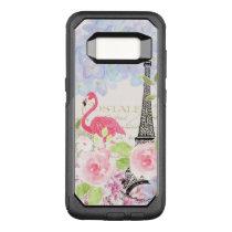 Vintage french Eiffel Tower cute flamingo flowers OtterBox Commuter Samsung Galaxy S8 Case