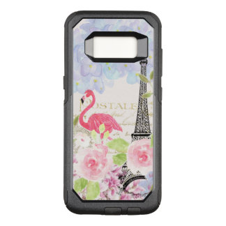 Vintage french Eiffel Tower cute flamingo flowers OtterBox Commuter Samsung Galaxy S8 Case