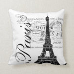 Vintage French Eiffel Tower Illustration Pillow