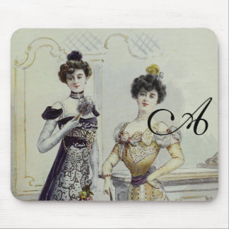 Vintage French Fashion – Black,Yellow Dress Mousepad