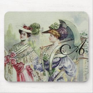 Vintage French Fashion – Blue, Pink Dress Mousepad