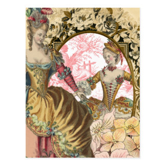 Vintage French Fashion Flowers and Frame Postcard