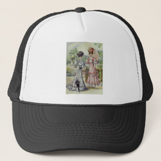 Vintage French Fashion- Gray, Pink Dress Trucker Hat