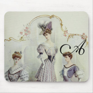 Vintage French Fashion – Gray, Violet Dress Mouse Pad