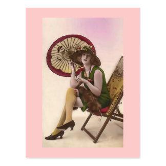 Vintage French Fashion Model with parasol II Postcard