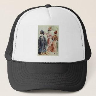 Vintage French Fashion-Pink, Gray, Peach Dress Trucker Hat