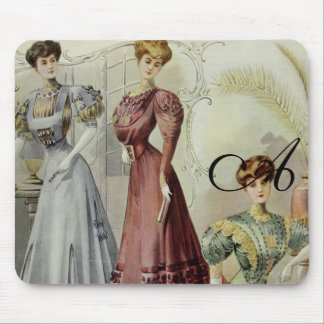 Vintage French Fashion – Red, Gray, Green Dress Mouse Pads