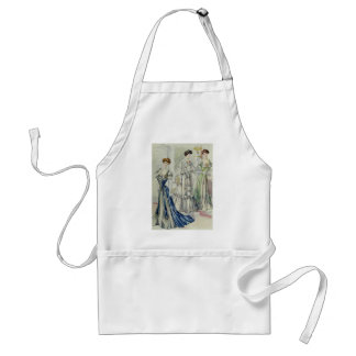 Vintage French Fashion – White, Green, Blue Dress Adult Apron