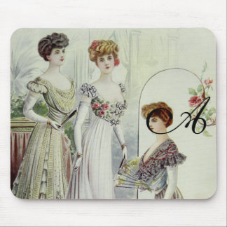 Vintage French Fashion – White, Green, Gray Dress Mouse Pads
