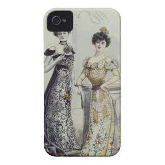 Vintage French Fashion – Yellow, Black Dress iPhone 4 Cover