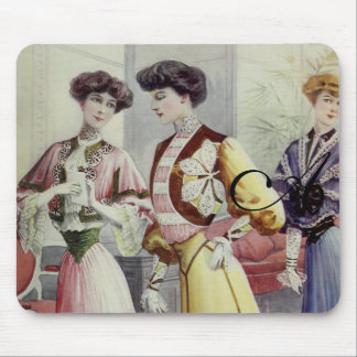Vintage French Fashion – Yellow, Pink, Blue Dress Mousepad