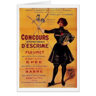 Vintage French Fencing Competition Advertisement! Greeting Card