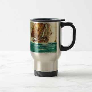 Vintage French fishing boats at sea 15 Oz Stainless Steel Travel Mug