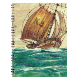 Vintage French fishing boats at sea Notebook