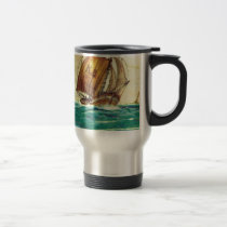 Vintage French fishing boats at sea Travel Mug