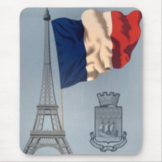 Vintage French Flag Eiffel Tower Vertical Mousepad