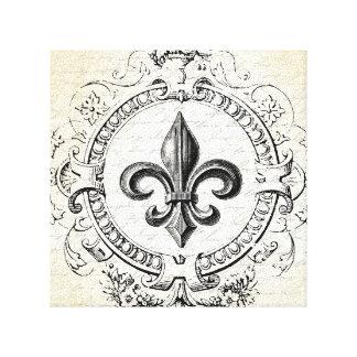 Vintage French Fleur de Lis stretched canvas Canvas Print