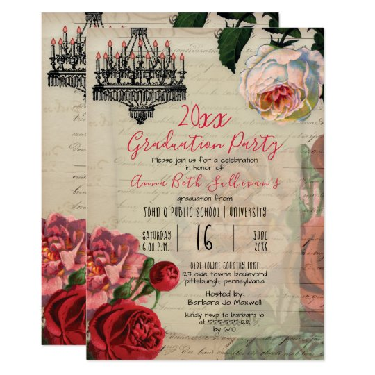 Vintage french floral boho graduation party invitation zazzle vintage french floral boho graduation party invitation filmwisefo