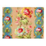 Vintage French Floral Textile Pattern Postcard