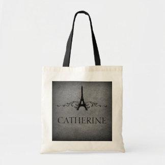 Vintage French Flourish Bag, Gray Tote Bag
