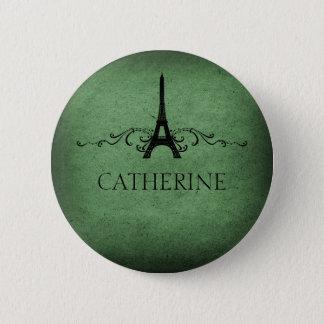 Vintage French Flourish Button, Green Button